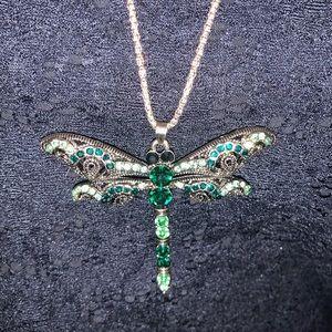 Jewelry - Green rhinestone dragonfly necklace